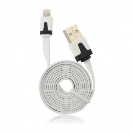 CABLE USB PLAT APPLE IPHONE 5 5C 5S SE 6 6S 6 Plus 6S PLUS Ipad Mini BLANC