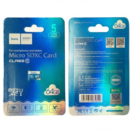 Carte mémoire micro SD 64GB HOCO capacité 64GO class 10